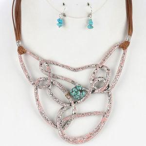 Pink Patina Irruglar Shape Necklace earring